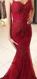 Burgundy Spaghetti Strap Lace Appliqued Long Mermaid Prom Dresses, TYP1453