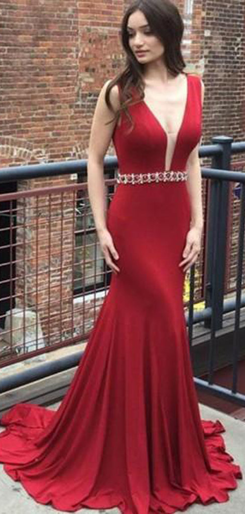 Mermaid Deep V-Neck Long Cheap Red Jersey Backless Beaded Prom Dresses, TYP1358