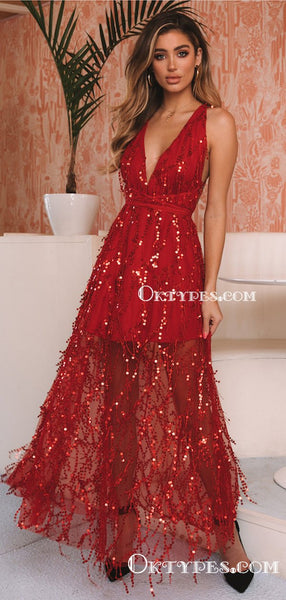 Sexy V-neck Sleeveless Red Tulle Charming A-line Long Cheap Eveving Prom Dresses With Sequin, PDS0001