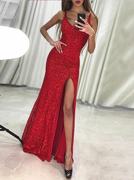 Sheath Scoop Sleeveless Red Lace Prom Dresses with Beading, TYP1340