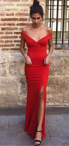 Sheath Off-the-Shoulder Long Cheap Red Prom Party Dresses with Split, TYP1279