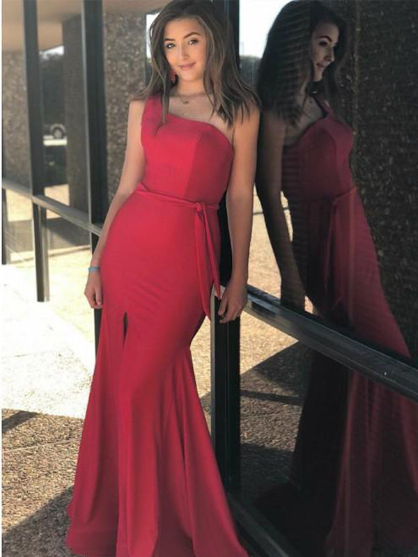 Charming Red One Shoulder Long Mermaid Prom Dresses with Split, TYP1595