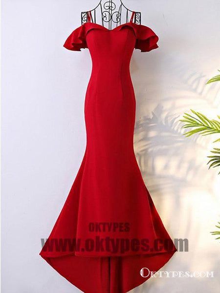 Red Long Mermaid Prom Dresses, Off-shoulder Prom Dresses, Lace Up Prom Dresses, Satin Prom Dresses, TYP0356