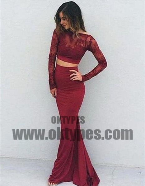 Red Two Piece Top Lace Jersey Prom Dresses, Bateau And Backless Prom Dresses, TYP0672