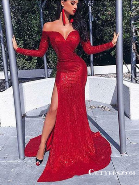 8bcaefa3 Mermaid Off the Shoulder Red Sequin Long Prom Dresses with Sleeves, TYP1635