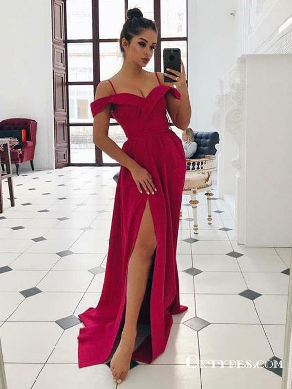 Sexy Off The Shoulder Red Long Prom Dresses With Side Slit, TYP1764