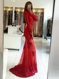 Mermaid Round Neck Open Back Sweep Train Red Tulle Prom Dresses with Pearls&Lace, TYP1257