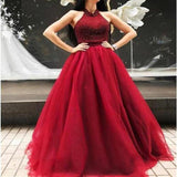 Red Long Floor Length Prom Dresses, Side Split Prom Dresses, Beading Prom Dresses, One-shoulder Prom Dresses, TYP0255