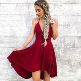 Red Spaghetti Straps High-Low Short Cheap Homecoming Dresses, TYP1003
