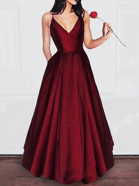 Red Long V-neck A-line Simple Princess Cheap Satin Prom Dresses ... 36001ab98