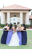Different Color A-line Sweetheart Chiffon Long Cheap Bridesmaid Dresses, BDS0081