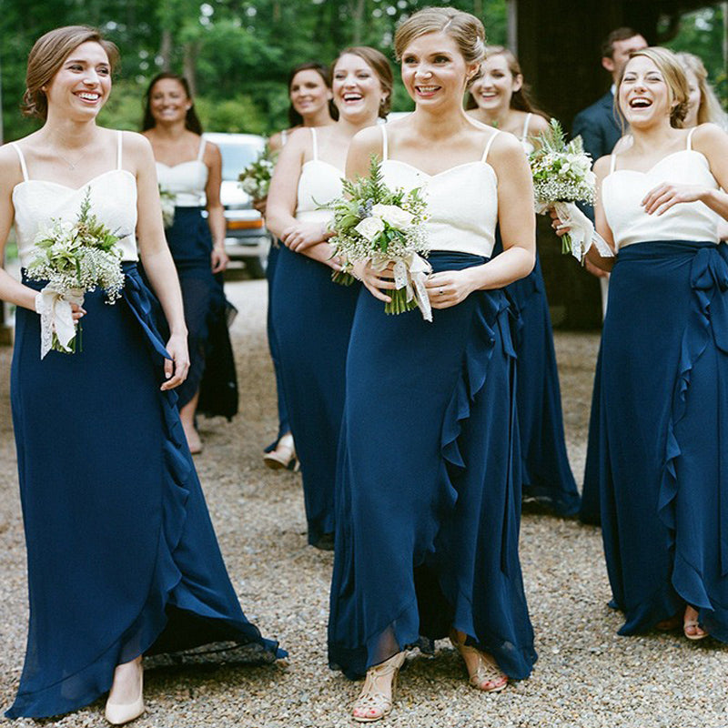 Sheath Spaghetti Straps Royal Blue Sleeveless Long Cheap Bridesmaid Dresses with Ruffles, TYP1013