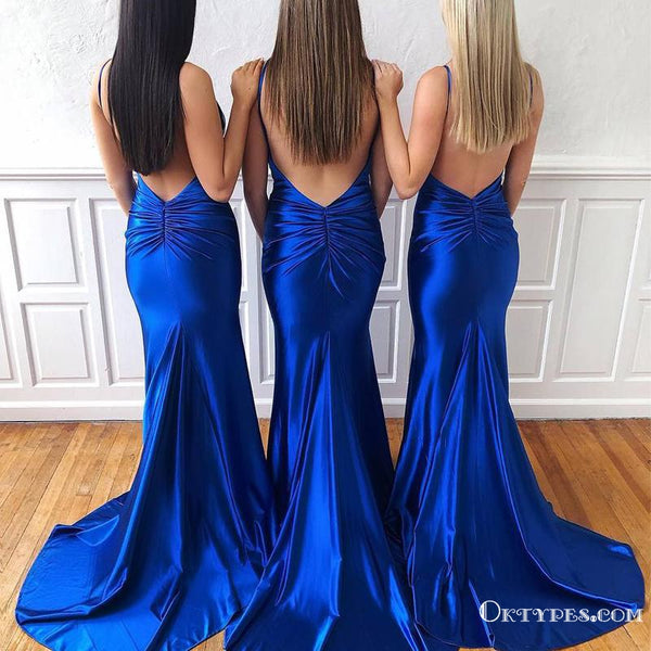 Sexy Mermaid Spaghetti Straps Royal Blue Satin Long Cheap Bridesmaid Dresses, TYP2002