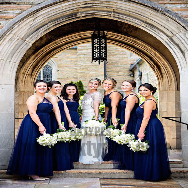 A-Line One-Shoulder Long Royal Blue Tulle Bridesmaid Dresses, Bridesmaid Dresses, TYP0704