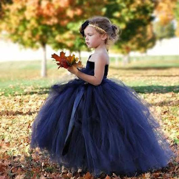 27e40700cd9b One Shoulder Navy Blue Tulle Ball Gown Flower Girl Dresses, TYP1246 ...