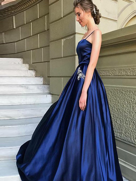 A-Line Spaghetti Straps Royal Blue Satin Prom Dresses with Beading&Pockets, TYP1267