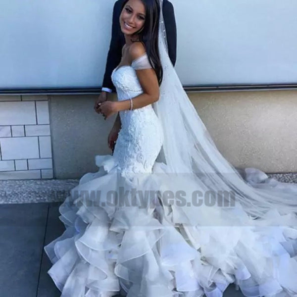 Lace Off-shoulder Sweetheart Long Mermaid Wedding Dresses With Ruffles, TYP0756