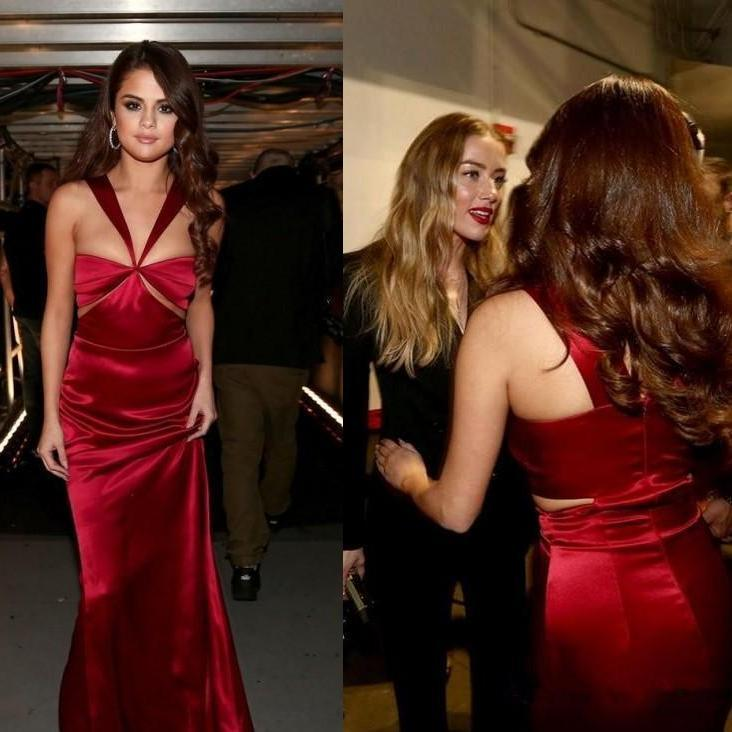 Unique Selena Gomez Inspired Long Sheath Soft Satin Prom Dresses, TYP1588