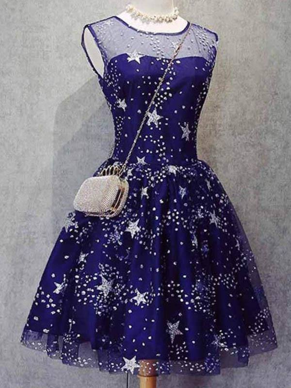 Blue Illusion Unique Cheap Short Homecoming Dresses 2018, CM552