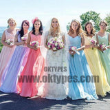 Sexy Bridesmaid Dresses A-line Straps Floor-length Chiffon Long Bridesmaid Dresses, TYP0680