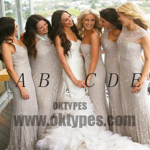 Sexy Bridesmaid Dresses V-neck Sheath/Column Tulle Long Bridesmaid Dresses, TYP0678