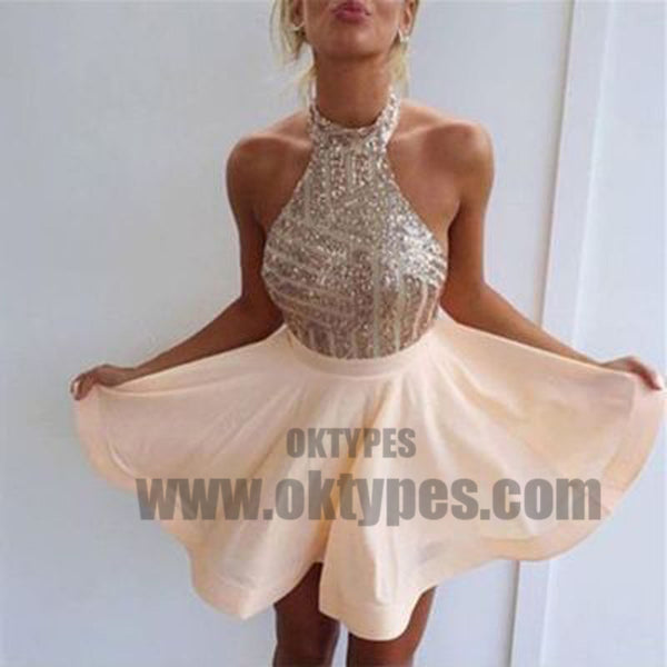 A-Line Halter Backless Short Pearl Pink Chiffon Homecoming Dress with Sequins, TYP0714
