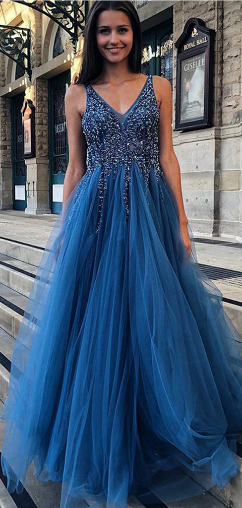 Charming A-Line V-neck Backless Floor-Length Blue Prom Dresses with Beading, TYP1434