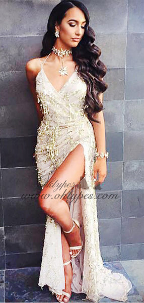 Sheath V-Neck Criss-Cross Straps Ivory Prom Dress with Beading Sequins, TYP1507