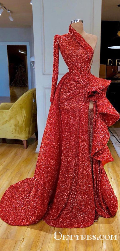 New Arrival Sparkly Sexy A-line Red One Shoulder Long Sleeve High Slit Long Cheap Sequin Prom Dresses, TYP2060
