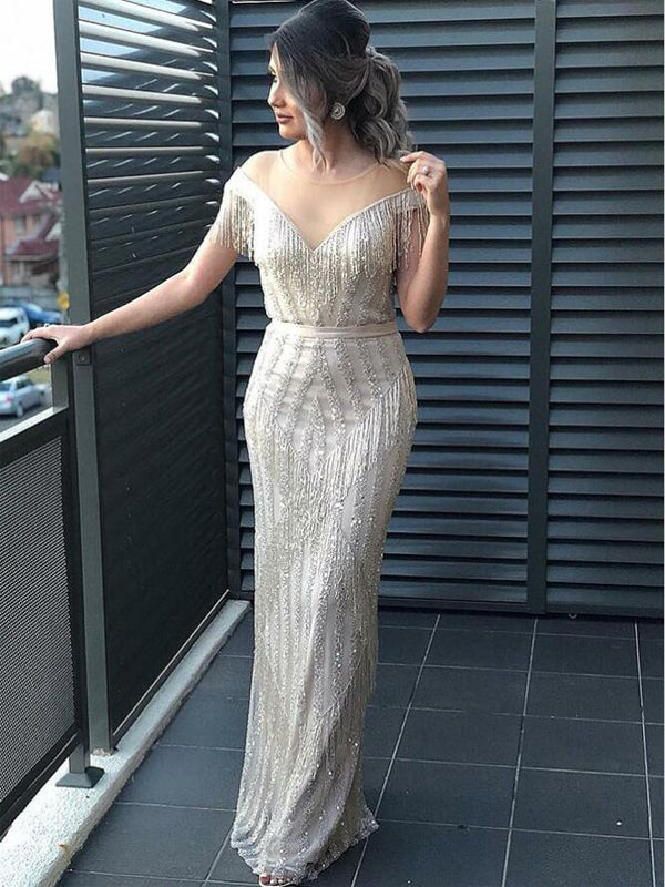 Sheath Illusion Round Neck Sequin Prom Evening Dresses with Tassels, TYP1278