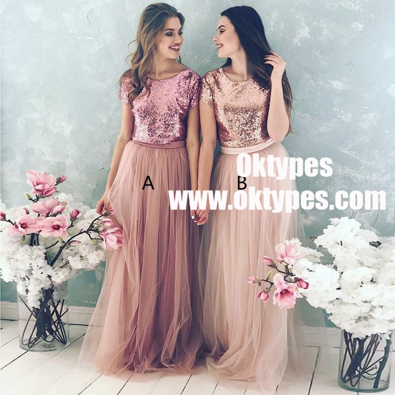 Sequin Bodice Tulle Skirt Cheap Long Bridesmaid Dresses With Sleeves ...