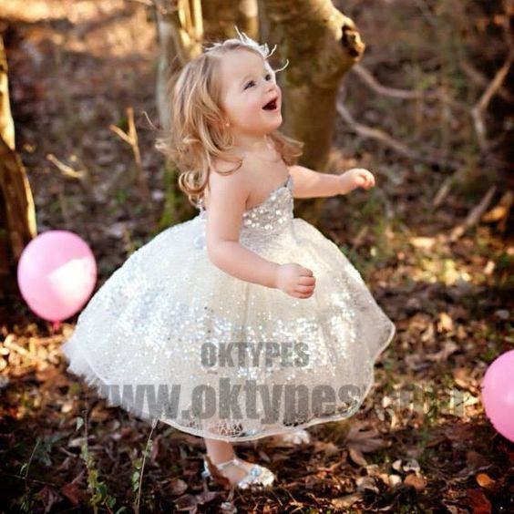 Ball Gown Strapless Knee-Length Sequined Flower Girl Dresses, Cute Flower Girl Dresses, TYP0716