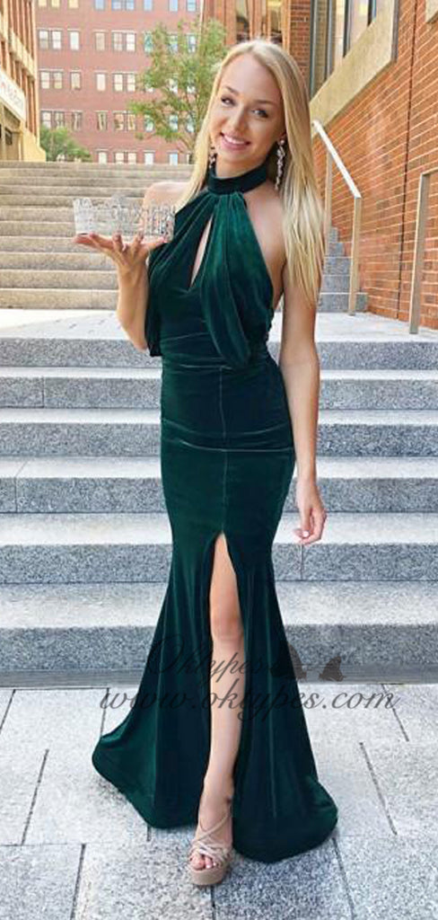 Sexy Dark Green Halter Long Sheath Mermaid Velvet Prom Dresses, TYP1593