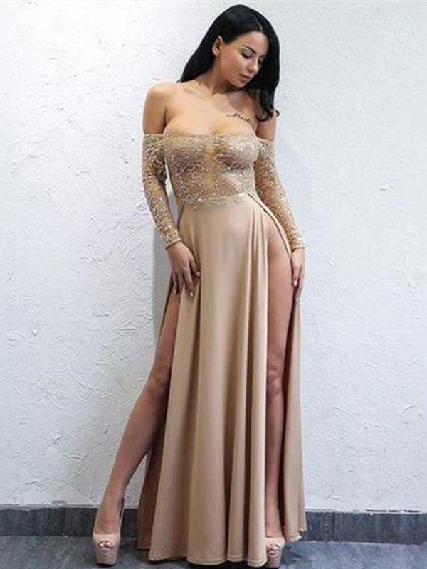 Sexy Long Sleeves Split Side Long Prom Dresses with Appliques, TYP1581