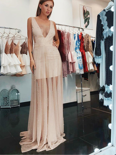 A-Line V-Neck Low Cut Blush Pink Tulle Prom Dresses with Pearls ... 834ca3868