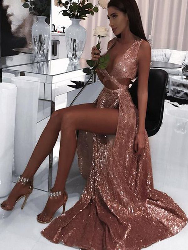 2021 Charming Sexy Sequin Sparkly Simple Rose Gold and Black Split Fashion Popular Prom Dresses, Evening dresses, TYP1121