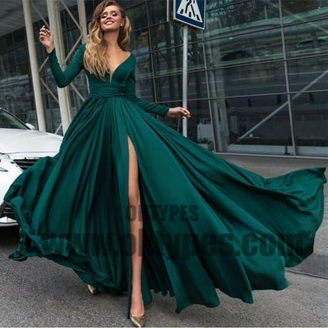 2018 sexy v-neck prom dress long sleeve high slit evening dress dark green prom gowns, TYP0422