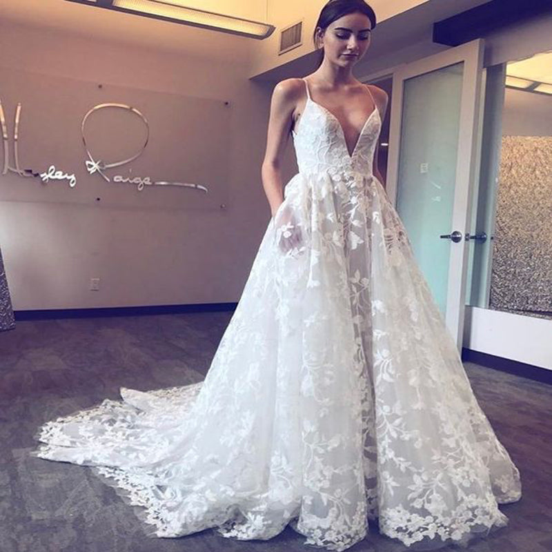 Sexy V-neck Spaghetti Straps Long Cheap Lace Wedding Dresses with Pockets, TYP1019