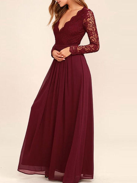 A-line Burgundy Chiffon Long Sleeves Lace Bridesmaid Dresses, TYP1231