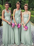 A Line Long Cheap Mint Green Mismatched Bridesmaid Dresses Online, TYP1209