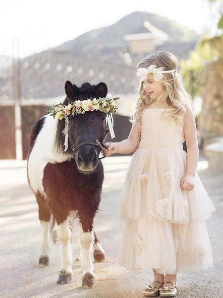 07029021bf Long Tulle Cheap Rustic Blush Pink Cute Flower Girl Dresses