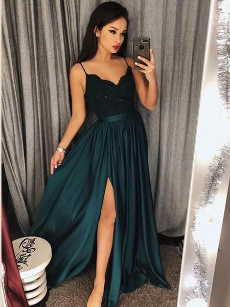 5c9a5744bd72 Spaghetti Strap Prom Dresses Long Lace V Neck Maxi High Split Evening Ball  Gowns 2019