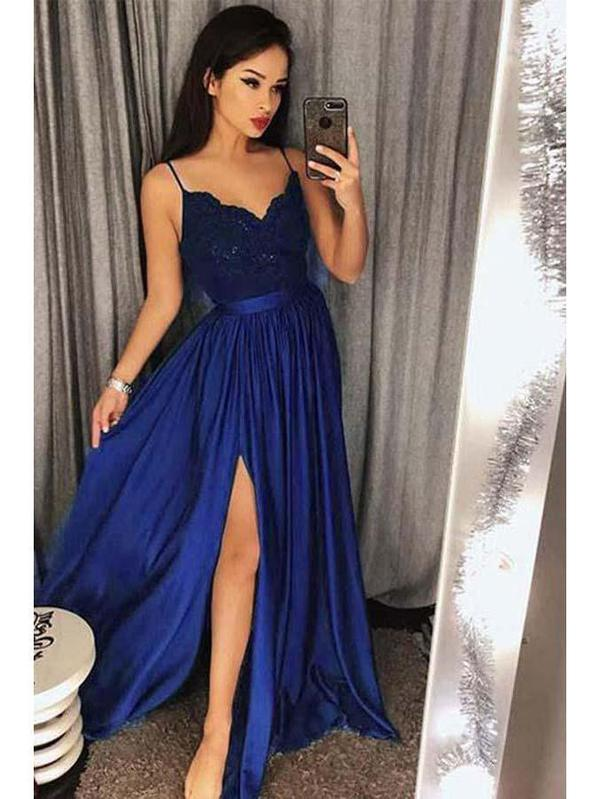 Spaghetti Strap Prom Dresses Long Lace V Neck Maxi High Split Evening Ball Gowns 2019, TYP1224