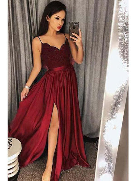 17288ff0eaa Spaghetti Strap Prom Dresses Long Lace V Neck Maxi High Split Evening Ball  Gowns 2019