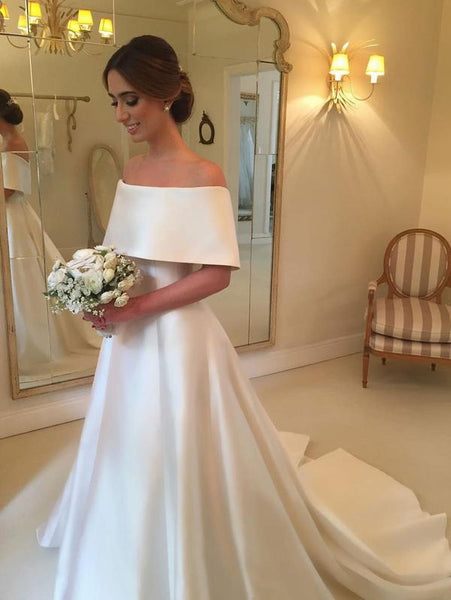 A-line Off the Shoulder Satin Cheap Simple Bridal Wedding Dresses, TYP1213
