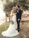 Ivory Rustic Lace Wedding Dresses Off the Shoulder Beach Wedding Dresses, TYP1215