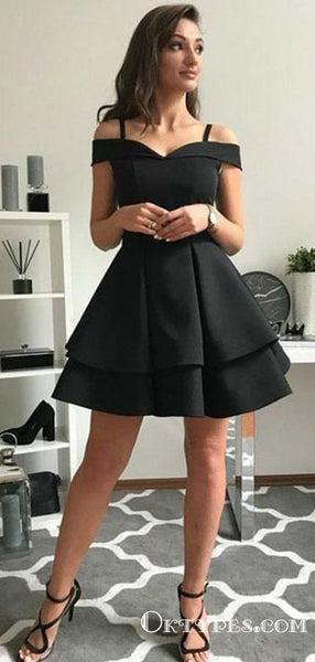 Cute A-Line Off the Shoulder Open Back Black Satin Short Homecoming Dresses, TYP1993