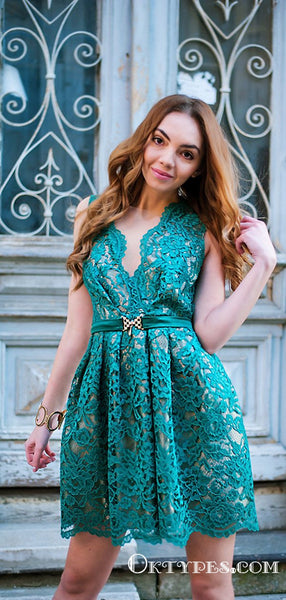 Newest Charming Cute Sheath Deep V Neck Turquoise Lace Short Cheap Homecoming Dresses, TYP2035