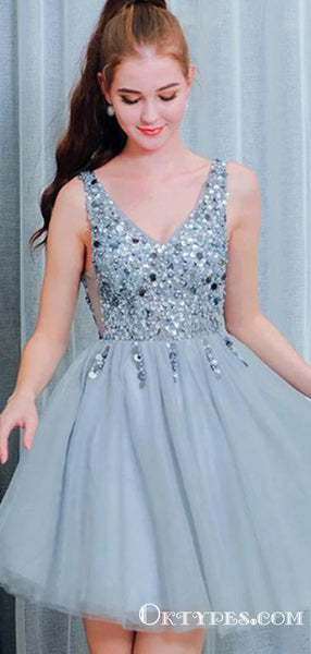 Bling A Line V Neck Light Blue Short Homecoming Dresses With Beading, TYP2030