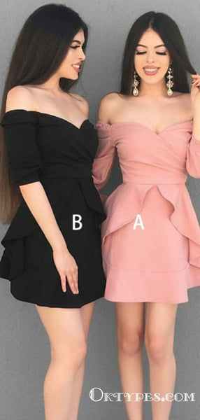 A-Line Long Sleeve Off-the-Shoulder Short Homecoming Dresses, TYP2017